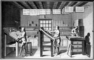 19th century compositors letterpress printing