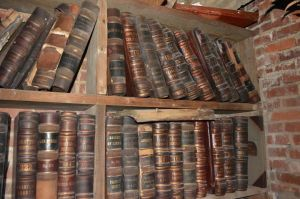 Shelves of record books from the Franklin County Courthouse seized and burned by the North Carolina State Archives.