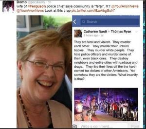 Wife of Feguson Police Chief, on the Protestors of Ferguson, MO.